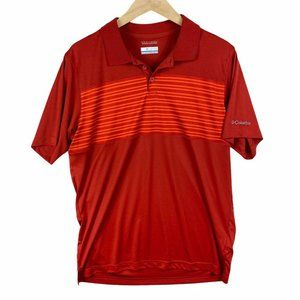 Columbia Men's Red Stripped Polo- Large